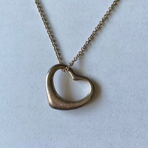 Tiffany & Co. Silver Open Heart Charm Necklace